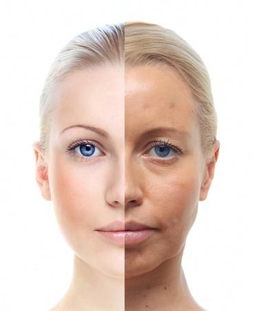 老化に移行する肌の顔